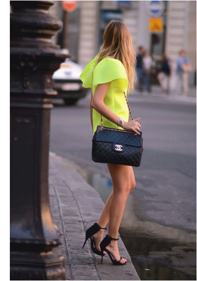 Yellow dress with Chanel shoulder bag