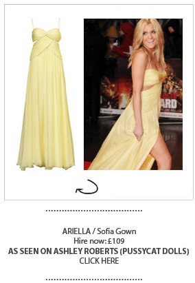 Ashley Roberts from the PussyCat Dolls wearing Ariella dress hired at Girl Meets Dress