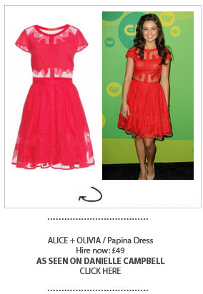 Danielle Campbell wearing Alice and Olivia dress hired at Girl Meets Dress