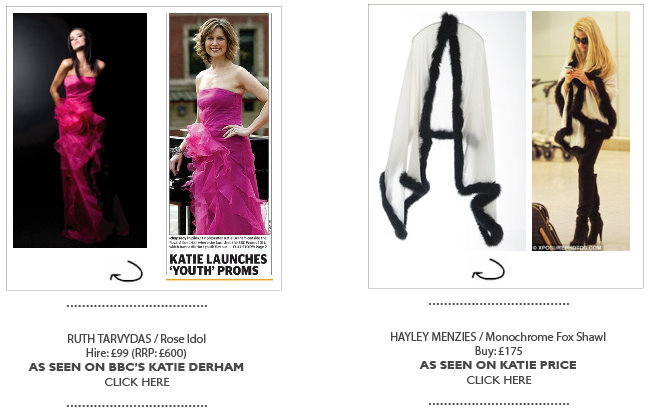 Katie Derham on Girl Meets Dress Ruth Tarvydas Rose Idol Dress - Katie Price on Girl Meets Dress Hayley Menzies Monochrome Fox Shawl - dress hire as seen on a celebrity